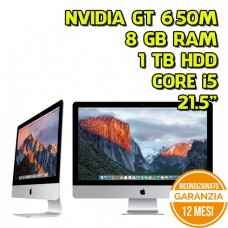 "ALL IN ONE APPLE IMAC 141A1418 21,5"" i5-3470S 2,90GHZ 8GB RAM 1TB HDD NVIDIA GT650M - GRADO A"